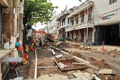 Semarang b?r gammalt stadsomr?de intensivt ut renoveringar arkivfoto