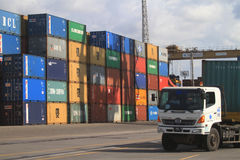 Containers klaar voor het verschepen Royalty-vrije Stock Afbeelding