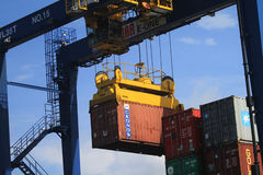 Container being loaded Stock Photo