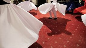 Semazen ceremony. Sufi whirling dervishes dances in Turkey. Sufi whirling is a form of physically active meditation stock video footage