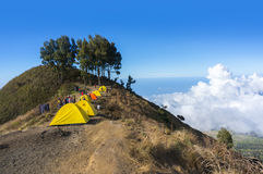 Sembalun rinjani camp site Royalty Free Stock Images