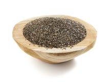 Seme di Chia servito in una ciotola di legno Fotografia Stock Libera da Diritti