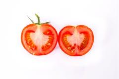 Seme di sezione trasversale del taglio della fetta del pomodoro che cucina il testo della verdura fresca Fotografia Stock