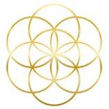 Seme dorato del fiore di vita di vita royalty illustrazione gratis
