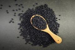 Semeia os feijões pretos úteis para a saúde nas colheres de madeira no fundo cinzento Imagem de Stock Royalty Free