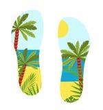 Semelle de chaussure d'illustration avec une vue de mer Illustration de Vecteur