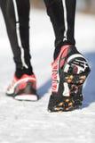 Semelles de traction de chaussures de course Images stock