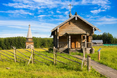 SEMENKOVO, RUSSIA - AUGUST 14, 2016: Prophet Elijah Chapel in museum of wooden architecture, Semenkovo, Vologda region. Russia Stock Photos