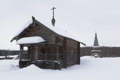 Chapel of Elijah the Prophet in the Museum of Wooden Architectur. Semenkovo, Vologda region, Russia - February 11, 2018: Chapel of Elijah the Prophet in the Royalty Free Stock Image