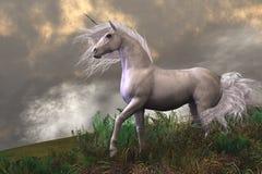 Semental blanco del unicornio Imagen de archivo