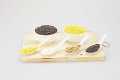 Semente de girassol do arroz da soja e arroz preto na colher Imagens de Stock Royalty Free