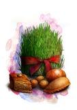 Sementes brotadas com fita vermelha, um símbolo tradicional de Novruz Bayram - semeni, com cookies, nozes e o ovo pintado, esboço Fotos de Stock Royalty Free