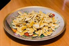 Sementes de abóbora, fritadas, Imagens de Stock Royalty Free