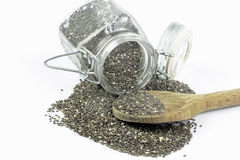 Sementes do chia do hispanica de Salvia Imagem de Stock