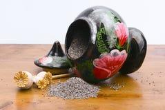 Sementes e frasco de papoila Imagens de Stock