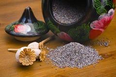 Sementes e frasco de papoila Foto de Stock Royalty Free