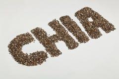 Sementes e palavra de Chia Fotos de Stock Royalty Free