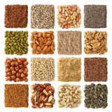 Sementes oleaginosas e coleção nuts fotografia de stock
