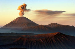 Semeru. Eruptions witnessed from Pananjakan, Pasuruan, East Java, Indonesia Stock Images