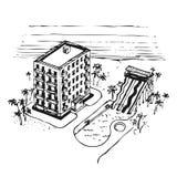 semester för simning för hotellhavpöl Royaltyfri Illustrationer