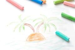 Semester för sommar för teckning för barn` s Sommar palmträd Mångfärgade färgpennor, pastell Royaltyfria Foton