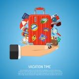 semester för turism för strandbegreppssunbeds Fotografering för Bildbyråer