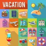 Semester och plan symbolsuppsättning för turism Arkivfoto