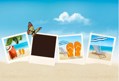 Semesterfoto på en strand stock illustrationer