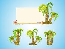 Semesterkokosnötbakgrund - uppsättningen av kokospalmen - Royaltyfria Foton