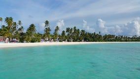 Semesterortö med stranden och palmtrees på en solig dag Royaltyfri Foto