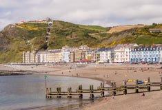 Semesterort för Aberystwyth sjösidaferie i Wales, UK Fotografering för Bildbyråer