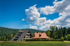 Semesterort för ferie för barn` s på berget Arkivbilder