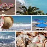 semesterort för strand collage4 Arkivbilder