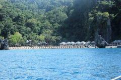 Semesterort på de Palawan öarna, Filippinerna Arkivbilder