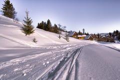 semesterorten skidar skidåkningspåret Fotografering för Bildbyråer