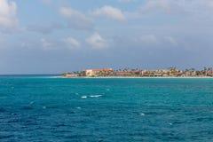 Semesterorter på kust av Aruba Fotografering för Bildbyråer
