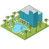 Semesterorthotell som bygger isometrisk sikt vektor royaltyfri illustrationer