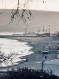 Semesterortstad på Black Sea i vinter Arkivbild