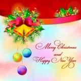 Semestra bakgrund för ` s med leksaker för ` s för julgranen och för det nya året royaltyfri illustrationer