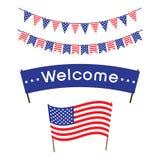 Semestra banret med flaggan av Förenta staterna, ferieflaggor, ett välkommet baner Arkivbilder