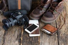 Semestra begreppet, förberedelsen för lopp, smartphone fotografering för bildbyråer