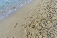 semestra den fina sandiga stranden med fotspår av folk på dess surfa Royaltyfri Foto