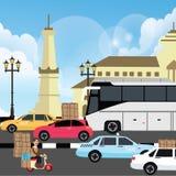 Semestra illustrationen för semestertrafikstockningblodstockning i den yogyakarta gatan indonesia royaltyfri illustrationer