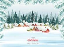 Semestra julbakgrund med en by och träd Royaltyfri Bild