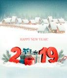 Semestra julbakgrund med 2019 och vinterbyn royaltyfri illustrationer