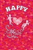 Semestra kortet med gulliga änglar och hjärta på röd bakgrund för hjärtor Royaltyfria Bilder