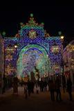 Semestra ljus i den stora fyrkanten av Sibiu Arkivbilder