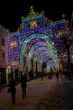 Semestra ljus i den stora fyrkanten av Sibiu Arkivfoto