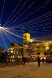 Semestra ljus i den stora fyrkanten av Sibiu Royaltyfria Bilder