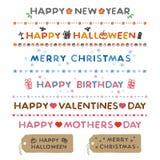 Semestra meddelanden, det lyckliga nya året, allhelgonaaftonen, jul, födelsedag royaltyfri illustrationer